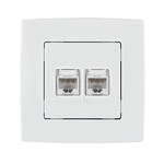 Phone Socket RJ11 + Computer RJ45 City White