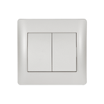 Switch 2 Buttons 1 Way K/R Rhyme White Metallic