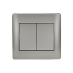 Switch 2 Buttons 1 Way K/R Rhyme Grey Metallic
