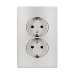 Schuko Socket Double Rhyme White Metallic