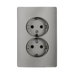 Schuko Socket Double Rhyme Grey Metallic