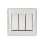 Switch 3 Buttons 1 Way Rhyme White Metallic