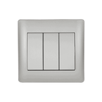 Switch 3 Buttons 1 Way Rhyme Grey Metallic