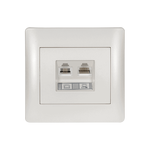 Phone Socket RJ11 Double Rhyme White Metallic