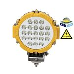 Vehicle Led Flood Light 63W 12V-24V DC Round Yellow