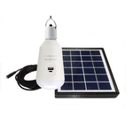Led Lamp E27 7W with Solar Panel + Mobile Charger