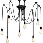 Lighting Chandelier 8 Bulb Black BLOOM
