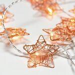 Decorative 10Led String Lights Bronze Metal Stars & Timer