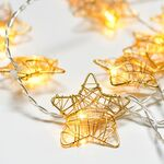 Decorative 10Led String Lights Gold Metal Stars & Timer