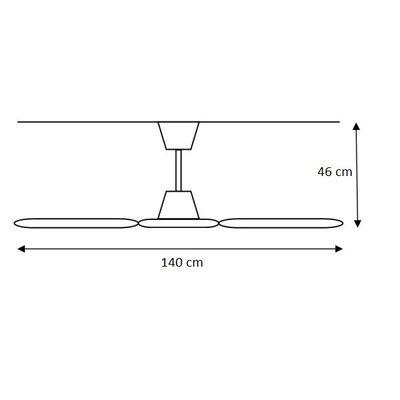 Industrial Ceiling Fan 140cm 80W White