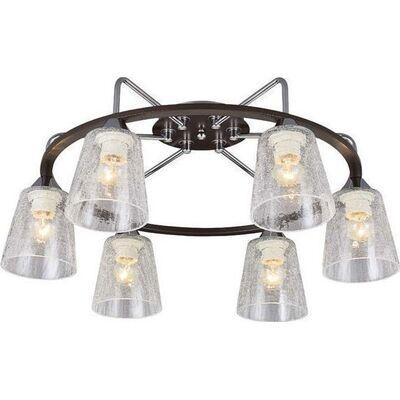 Lighting Pendant 6 Bulbs Wenge + Chrome ZORY6