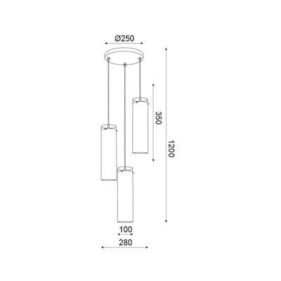 Lighting Fixture Chrome + Clear 3 x E27 13800-357